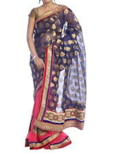 Red And Blue Saree With Gold Border - Suchi Fashion