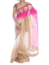 Pink And Beige Ombre Saree - Suchi Fashion