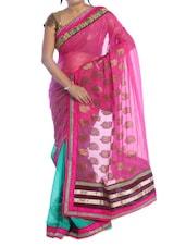Pink And Green Saree - Suchi Fashion