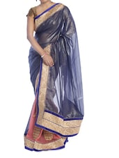 Shimmery Blue And Pink Saree - Suchi Fashion