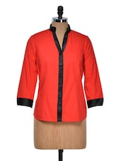 Red Shirt With Black Placket And Cuffs - DAZZIO