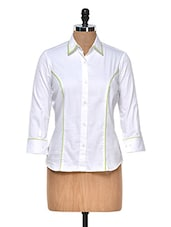 Classic White Shirt With Green Piping - DAZZIO