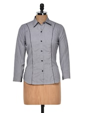 Grey Classic Shirt With Black Piping - DAZZIO