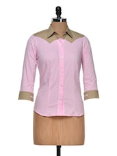 Pink Shirt With Beige Detail Inserts - DAZZIO