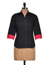 Classic Black Shirt With Contrast Cuffs - DAZZIO