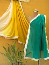 Three Part Shaded Saree With White Lace Border - RiniSeal