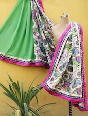 Green And Pink Printed Saree - RiniSeal