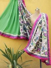 Green And Pink Printed Saree - RiniSeal