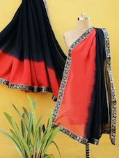 Black And Red Ombre Saree - RiniSeal
