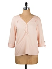 Peach Roll-up Sleeved Top - Queens