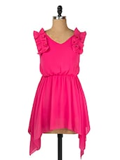 Solid Pink Asymmetrical Dress - Queens