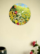 Yellow And Green Floral Clock - Zeeshaan