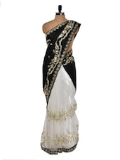 Gold Trimmed Black And White Evening Saree - Get Style At Home