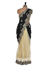 Regal Black And Beige Evening Saree - Get Style At Home