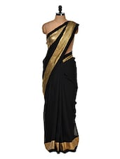Luxe Black Saree With Gold Border - Get Style At Home