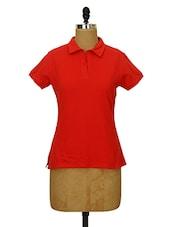 Solid Red Collared T-shirt - CHERYMOYA