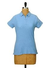 Sky Blue Collared T-shirt - CHERYMOYA