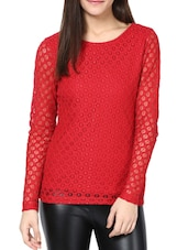 Chic Red Lace Top - CHERYMOYA