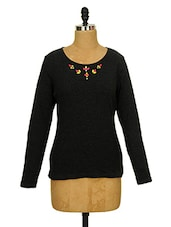 Charcoal Grey Embellished Top - CHERYMOYA