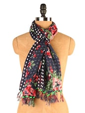 Blue Scarf With Polka-dots And Floral Prints - EIGHTEEN27