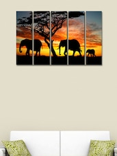 Printed Elephants Wall Art Painting - 5 Pieces - 999store