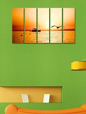 Ship In The Sea Wall Art Painting - 5 Pieces - 999store