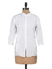 Solid White Embroidered Short Kurti - PehNava