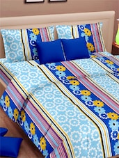 Floral Printed Stripes Double Bed Sheet With Pillow Covers - VORHANG - 941768