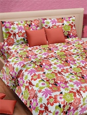 Multicolored Floral Printed Double Bed Sheet With Pillow Covers - VORHANG