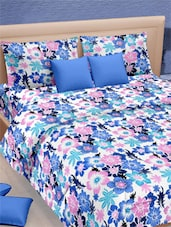 Multicolored Floral Printed Double Bed Sheet With Pillow Covers - VORHANG - 941778