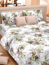 Classy Rose Printed Double Bed Sheet With Pillow Covers - VORHANG - 941782
