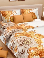 Floral Printed Sober Double Bed Sheet With Pillow Covers - VORHANG - 941796
