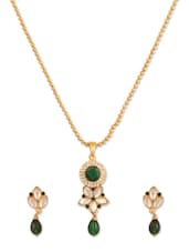 Green Charming Crystal Studded Designer Pendant Set - Rich Lady