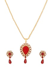 Awesome Maroon Designer Pendant  Set - Rich Lady