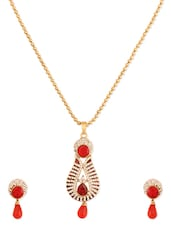 Awesome Red Designer Pendant  Set - Rich Lady