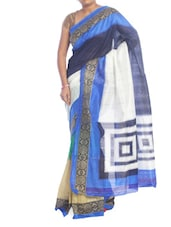 Blue And White Printed Saree - Saraswati