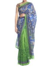 Gold Printed Blue-green Saree - Saraswati