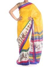 Warli Print Yellow Saree - Saraswati