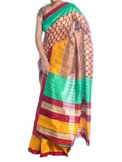 Red, Yellow And Green Synthetic Cotton Saree - Saraswati