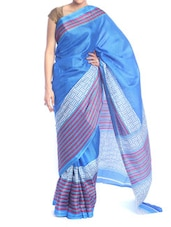 Striped Blue Tone Poly Cotton Saree - Saraswati