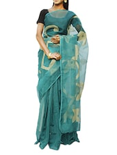 Green And Dusty Gold Half And Half Design Madhabilata Saree - Cotton Koleksi