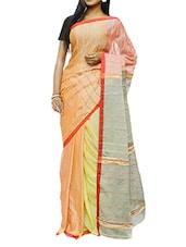 Multi-coloured Khyash Weave Saree - Cotton Koleksi