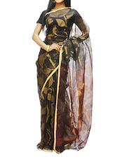 Black, Dusty Gold And Maroon Swarnalata Design Saree - Cotton Koleksi