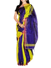 Bright Blue And Yellow Handloom Saree With Panel Design - Cotton Koleksi