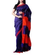 Blue And Red Bengal Handloom Linen Moklin Saree - Cotton Koleksi