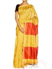 Yellow And Red Saree - Cotton Koleksi