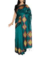 Elegant Green Saree With Diamond Border And Aanchal - Cotton Koleksi