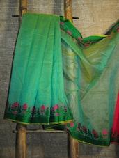 Floral Trim Sea Green Net Banarasi Saree - BANARASI STYLE