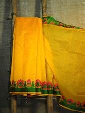 Floral Trim Yellow Net Banarasi Saree - BANARASI STYLE