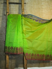 Floral Trim Green Net Banarasi Saree - BANARASI STYLE